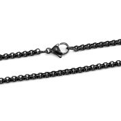 PROSTEEL 3MM Box Chain Necklace for Women Men-with lobster Clasp, 316L Stainless Steel/Gold Plated/Black Colour, 18/20/22/24/26/28/30/32 Inch