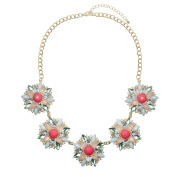Adorning Ava Gold Floral Pendant Collar Necklace with Pink Clear and Pastel Coloured Rhinestones