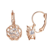 Yoursfs Rose Filigree Cage Shaped Leverback Earrings for Women 18ct Rose Gold Plated Crystal Dangle Drop Earrings Bride Fashion Jewellery