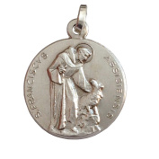 925 Sterling Silver Saint Francis from Assisi Medal - Patron of Europe