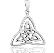 DTPSilver - Large 925 Sterling Silver Celtic Trinity Knot Pendant