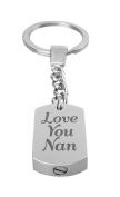 Love You Nan Urn Keyring - Memorial Ash Keepsake - Cremation Jewellery