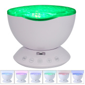Ocean Wave Projector Night Light Lamp with Built-in Music Player and Remote Control 7 Colourful Light Modes for Kids Adults Bedroom Living Room Field Travel