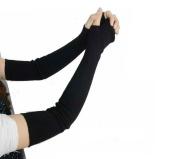 1Pair 41cm Knitted Winter Arm Warmer Fingerless Long Gloves- Elastic Stretch Winter Warm Long Arm Sleeve Fingerless Arm Gloves for Ladies Women Girl