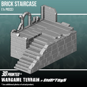 Brick Staircase, Terrain Scenery for Tabletop 28mm Miniatures Wargame, 3D Printed and Paintable, EnderToys