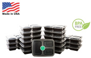 Meal Prep Containers   3 Compartment   USA Made   Bento Box   150 Pack Food Storage Lunchbox