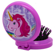 Gift For Kids - Compact Pocket Mirror and Brush - Unicorn Horse - Travel Gift for Girl, Teen, Teenager, Child, Children - Perfect for Stocking Fillers Christmas Xmas Birthday Easter Present Gift Fun Toys & Games Age 5+ or Pocket Money Treat or Reward I ..