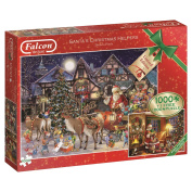 Falcon de luxe 11182 Santa's Christmas Helpers - 2 x 1000 Piece Jigsaw Puzzles in One Box