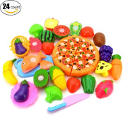 YOYOBABY Children Early Learning Resources Play Food Plastic Fruit Vegetable Recognition Educational Kitchen Cutting Food Toy Play Food Sets for kids