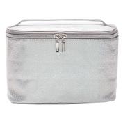 Toiletry Bag Train Case Silver