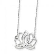 Sterling Silver Polished Lotus Flower 46cm Necklace