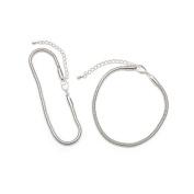 22cm Brt Slvr Snk Chn Bracelet Wex 2Pc