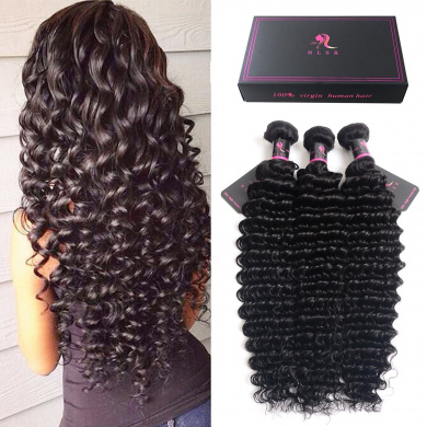 HLSK Hair Remy Brazilian Virgin Hair Deep Wave Hair Extensions 3 Bundles 8A Unprocessed Human Hair Wave Hair Bundles Natural Colour Can Be Dyed and Bleached (18 18 18)