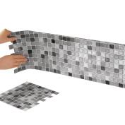 Mosaic Peel & Stick 25cm x 25cm Backsplash, Kitchen, Bathroom, DIY Wall Tiles - Set Of 6, Black And White