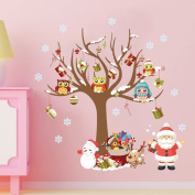 Christmas Wall Sticker, Outgeek Waterproof Removable Cute Santa Wall Decal for Kid Room