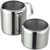 Stainless Steel Sugar & Cream Set Bowl Jug Tea Coffee Serving Table Storage Trip Camping Home Kitchen