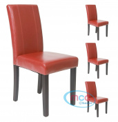 Set of 4 Faux Leather Dining Chairs For Home & Commercial Restaurants [Brown* Black* Red* Cream*]