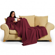 Snug Rug Deluxe Coral Fleece The Adult Blanket with Sleeves, Mulberry Red, 60 x 84-Inch, 214 x 152 x 1 cm