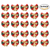 24PCS Christmas Bow Decoration, Red Xmas Bowknot with Bell DIY Christmas Tree Garland Rattan Gift Box Ornament By Rely2016