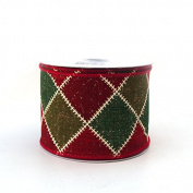 Christmas Ribbon Wired Edge, 5.1cm - 1.3cm , 10-yard - Diamond Sweater