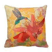 DECORLUTION Pillowcase One Side Decorative Cushion Cover Pillowcase Purple Blue Aqua Hummingbird Birds Red Tropical Throw Pillow