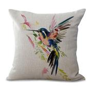DECORLUTION Pillowcase One Side Decorative Cushion Cover Pillowcase 46cm x 46cm Purple Blue Aqua Hummingbird Birds Red Tropical Throw Pillow cover