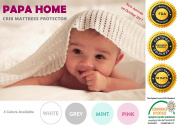Papahome Premium Hypoallergenic Crib Mattress Protector Lab Tested Waterproof - Fitted Cotton Terry Cover - Vinyl Free - 4 Different Colours Available