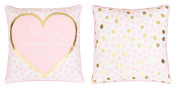 Thro by Marlo Lorenz TH015363001E Lara Love Reversible Foil Printed Kids Pillow, Almond Blossom Bright White