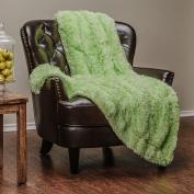 Chanasya Super Soft Long Shaggy Chic Fuzzy Fur Faux Fur Warm Elegant Cosy With Fluffy Sherpa Lime Creme Microfiber Throw Blanket (130cm x 170cm ) - Solid Shaggy Lime Crme
