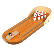 Visork Wooden Desktop Bowling Toy Mini Bowling Game Set Bowling Board Game Toy With Lane Tabletop Bowling Pins and Metal Ball For Kids and Adults