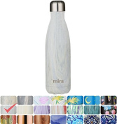MIRA Vacuum Insulated Travel Water Bottle   Leak-proof Double Walled Stainless Steel Cola Shape Portable Water Bottle   No Sweating, Keeps Your Drink Hot & Cold   17 Oz