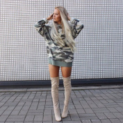 ShungHO Camouflage Sweater Women Casual Loose Round Neck Long Sleeves Camouflage Printed Sweater Sweatshirt,XL