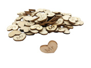 200 PACK Shaped Rustic Wooden Love Heart Wooden Heart Confetti Engraved Love Hearts Wedding Table Scatter Decoration Crafts For Wedding Valentine's Day gift