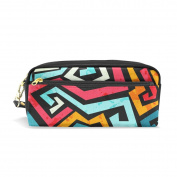 LORVIES Bright Graffiti Pattern With Grunge Effect Portable PU Leather Pencil Case School Pen Bags stationery Pouch Case Large Capacity Makeup Cosmetic Bag