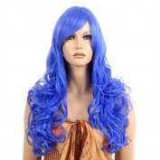 STfantasy Navy Blue Wig Long Loose Deep Wave Curly Hair for Women Halloween Cosplay Party Wig 70cm