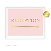 Andaz Press Wedding Party Directional Signs, Blush Pink with Metallic Gold Ink, 22cm x 28cm , Arrow-Sided, Reception with Big Arrow, 1-Pack, Unframed
