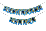 Adventure Awaits - Travel Themed Party - Bon Voyage Banner - Map Party Decorations - World Awaits¬ - Graduation Party - Card-stock Banner