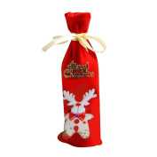 Zehui Christmas Ornament Bottle Cover Snowman Santa Claus Elk Bear Pattern Red Wine Sleeve Bottle Cover Home Xmas Party Decoration Christmas Gift Elk