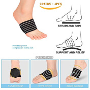 4PCS OF Plantar Fasciitis Arch support BY PEDIMEND - Reduce inflammation - Padded Comfort for Flat and Achy Feet - Reduces Cramps & Stiffness - Pain Relief for High Arches - For Men & Women - Foot Care