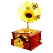 Miss.AJ Retro Wind Up Gramophone Phonograph Music Box Classical Trumpet Horn Creative Home Decoration Kids Toys Gifts