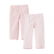 Burt's Bees Baby Organic Footless Pants, Solid and Stripe, 6M, Blossom, 2 Ct