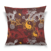 Double Sided Chinese Dragon and Yin Yang Cotton Velvet Pillowcase Square 46cm x 46cm Covers With Zipper Standard for Bed