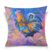 Double Sided Colourful Rooster Cotton Velvet Square Cover Cushion Covers 41cm x 41cm Pillow Slip Covers Decorative