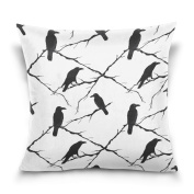 Double Sided Seamless Ravens and Tree Branche Black and White Cotton Velvet Square Pillow Slipcovers 50cm x 50cm Decorative for Chair Auto Seat
