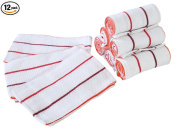 """PACK OF 12 - 100% Cotton Kitchen Dish Towels– Multi Purpose Kitchen Towels,Dish Towels,Dish Cloths– Cotton Napkins- Waffle Kitchen Towels– EXTRA LARGE 18"""" X 28"""" INCHES Dish Cleaning towels-By HILLFAIR"""