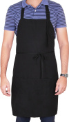 Utopia Adjustable Bib Apron with 2 Pockets Cooking Kitchen Aprons for Women Men Chef, Black