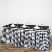 Efavormart 5.2m Perfect Picnic Inspired White/Black Chequered Polyester Table Skirt