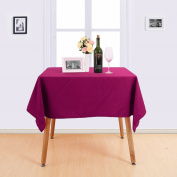 Deconovo Solid Tablecloth High Density Oxford Water Resistant Table Cover Oblonge Tablecloth for Kitchen 140cm x 140cm Fuchsia