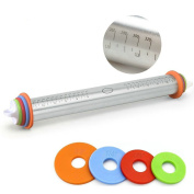 GuDoQi Stainless Steel Rolling Pin with Adjustable Discs and Measurement Marking for Baking,Kids Dough Pizza Pie Cookies