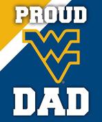 West Virginia Mountaineers 13cm x 15cm Proud Dad Magnet Single